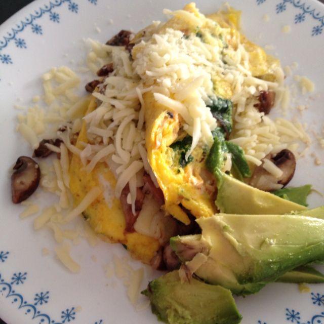 Salmon, mushroom, swiss chard omelette.. <3 breakfast