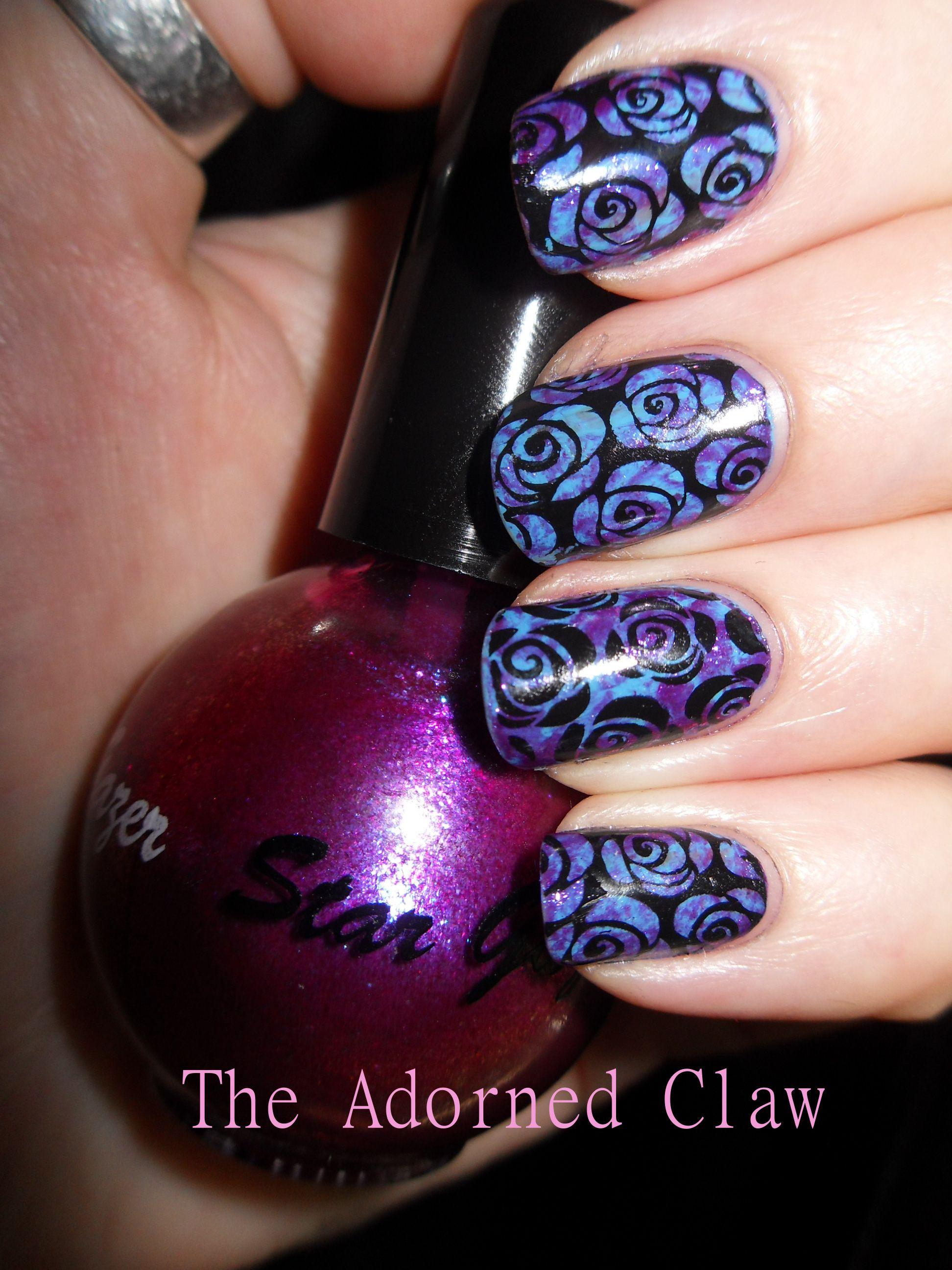 Purple And Blue Rose Nail Art Rose Nail Art Rose Nail Design Rose Nails