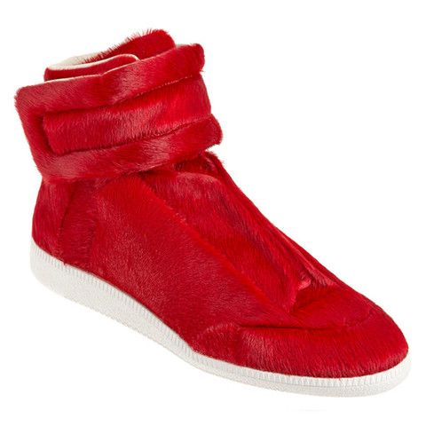 Maison Martin Margiela Red Calf Hair Sneakers #Luxury #DesignerSneakers #Expensive #Fresh #GQ #MaisonMartinMargiela