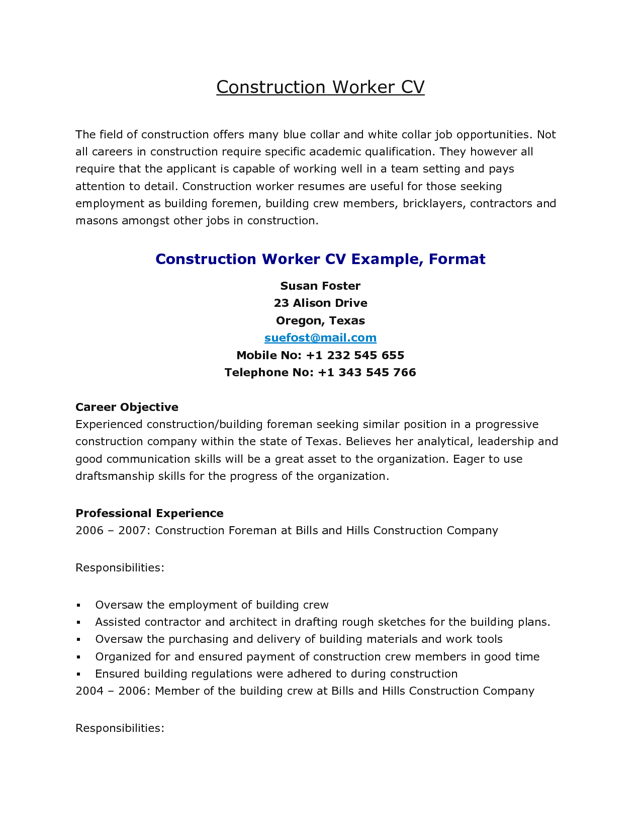 resume for construction workers cover letter Sample Resumes For Construction  Jobs sample objective .