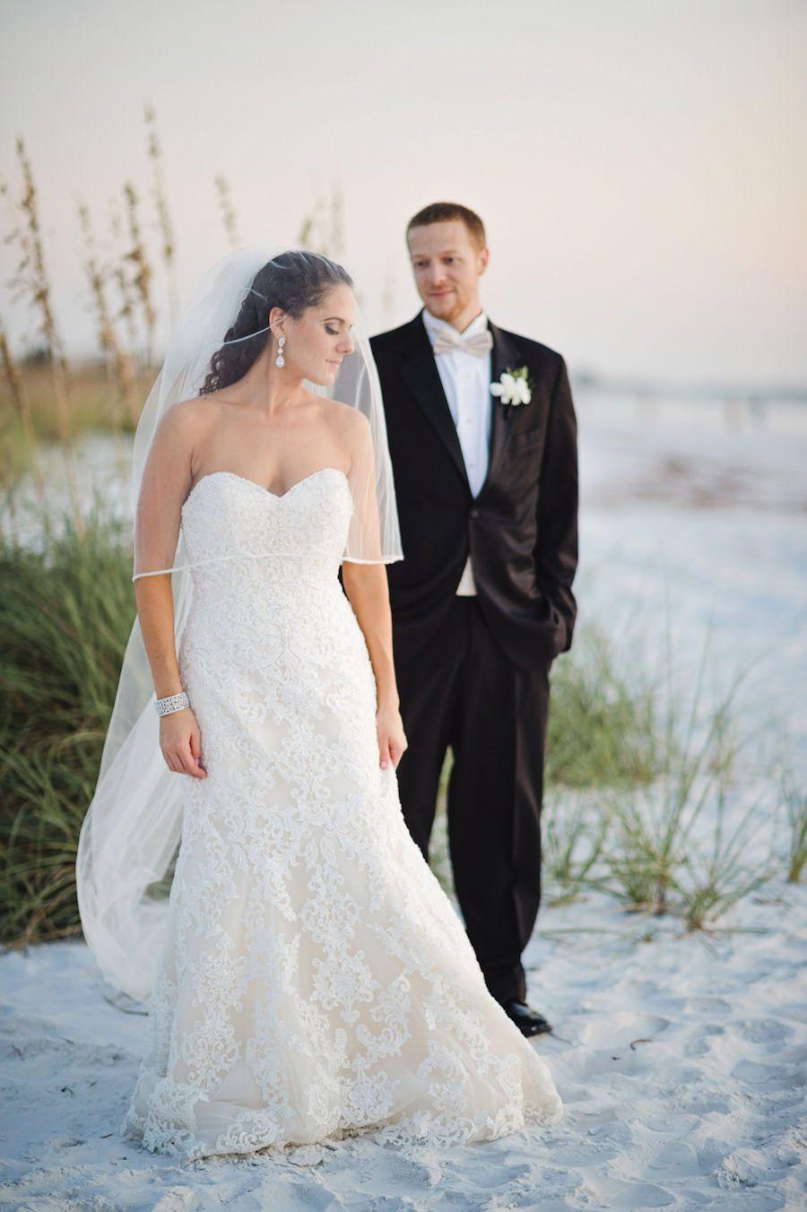Beach wedding looks for bride  Beach Bride and Groom Wedding Portrait  Tampa Wedding Photographer