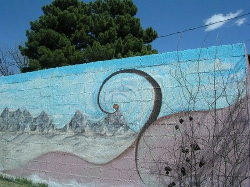 Mural In Honor Of Georgia O Keefe Painted In Las Cruces Nm With Leftover House Paint Street Art Mural Photo