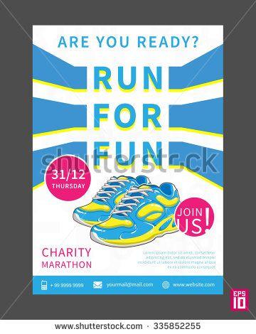 vector charity marathon flyer template with slogan run for fun