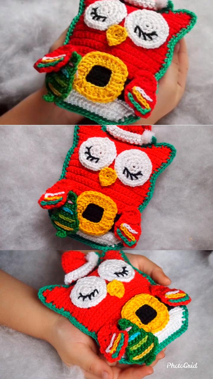Photo of Free Crochet Pattern Owl Santa Claus.