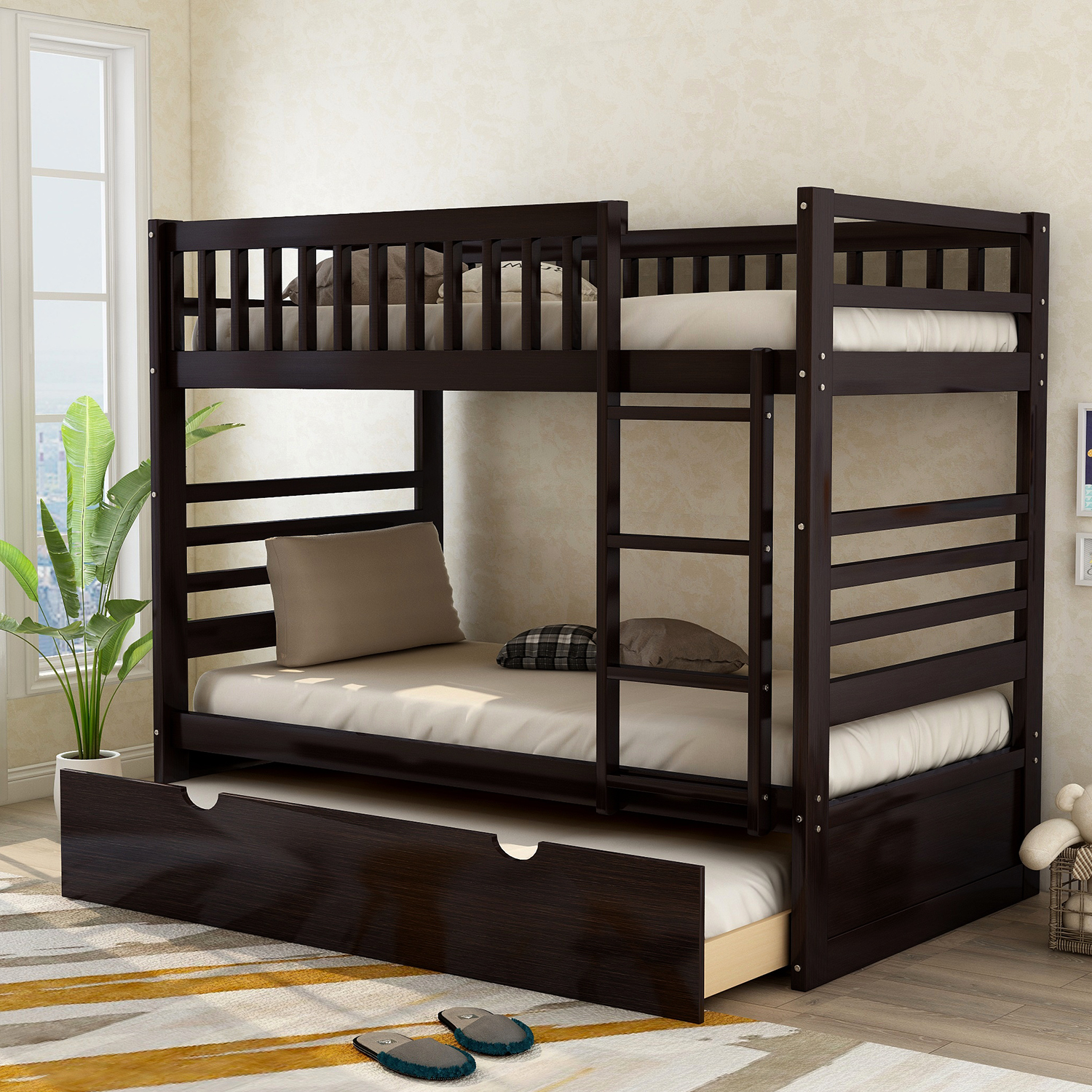 Merax Wood Bunk Bed Twin Over Twin With Trundle Espresso Walmart Com Bunk Bed With Trundle Wood Bunk Beds Bunk Beds Twin over twin with trundle
