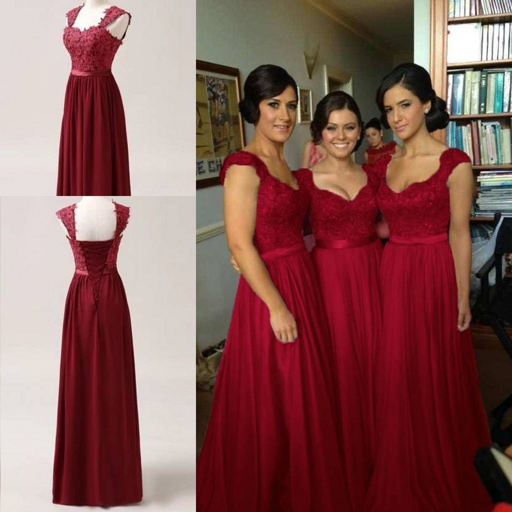 Nice great burgundy red chiffon corset long bridesmaids dress