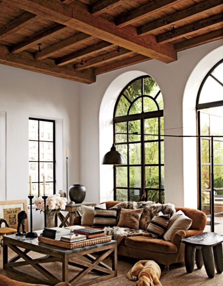Living Room Small Brown Sofa And Wooden Ceiling Combined With White Wall Color Ideas For