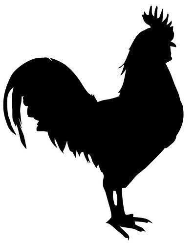 Chicken Silhouette Svg : chicken, silhouette, Rooster, Silhouette,, Animal, Stencil