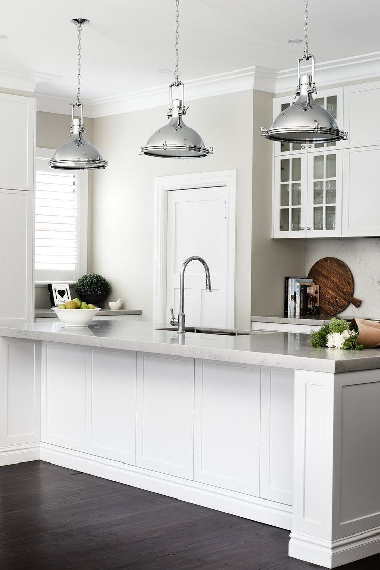 Hamptons style kitchen with chrome vintage industrial ...