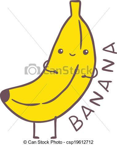 Vector - cute cartoon banana character - stock illustration ...