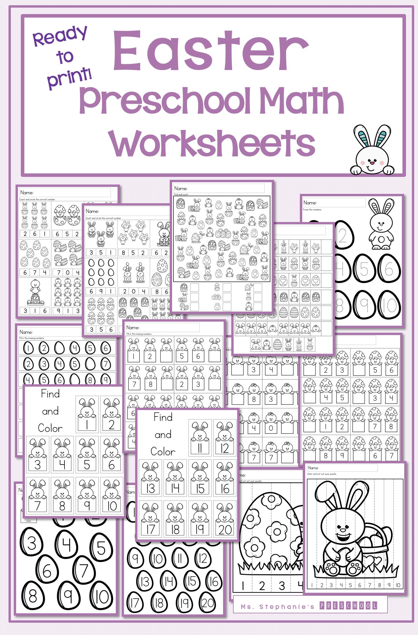 Easter Preschool Math Worksheets In