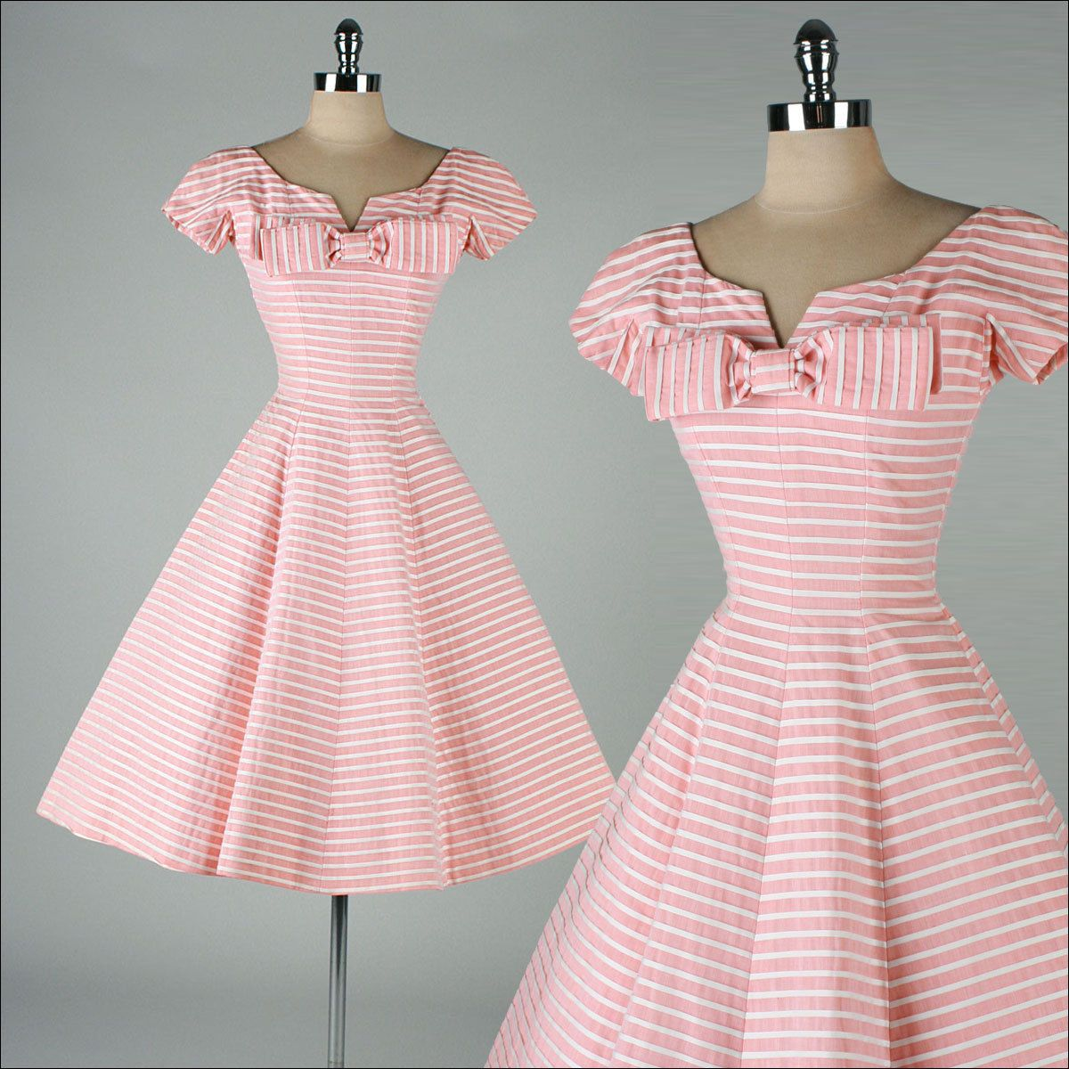 vintage 1950s dress . SUZY PERETTE . pink white striped ...