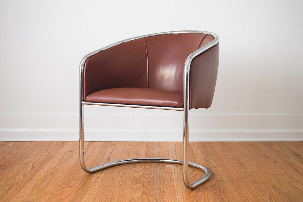 vintage chrome u0026 leather barrel chair & vintage chrome u0026 leather barrel chair | Homestead Seattle ...
