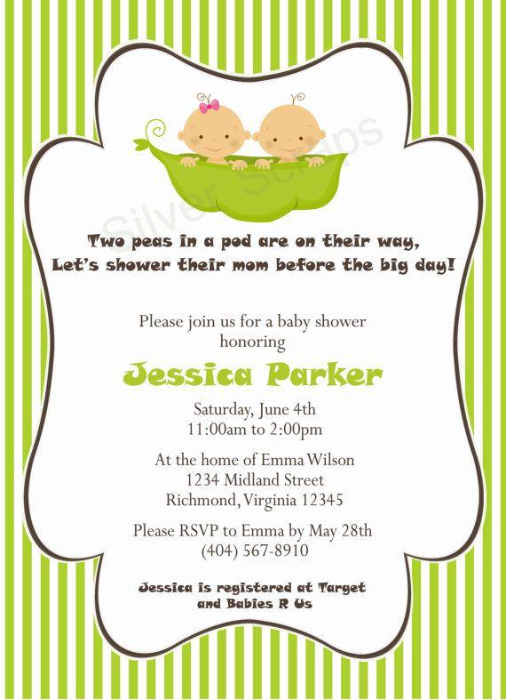 Two Peas In A Pod Custom Baby Shower Invitation Uni Twins Bright Green Pea 5 Designs Printable