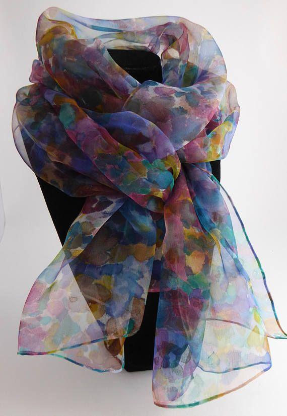 71681a91494c Etole écharpe foulard en Mousseline de Soie peint main Derniers Secrets 180  x 45 cm Création