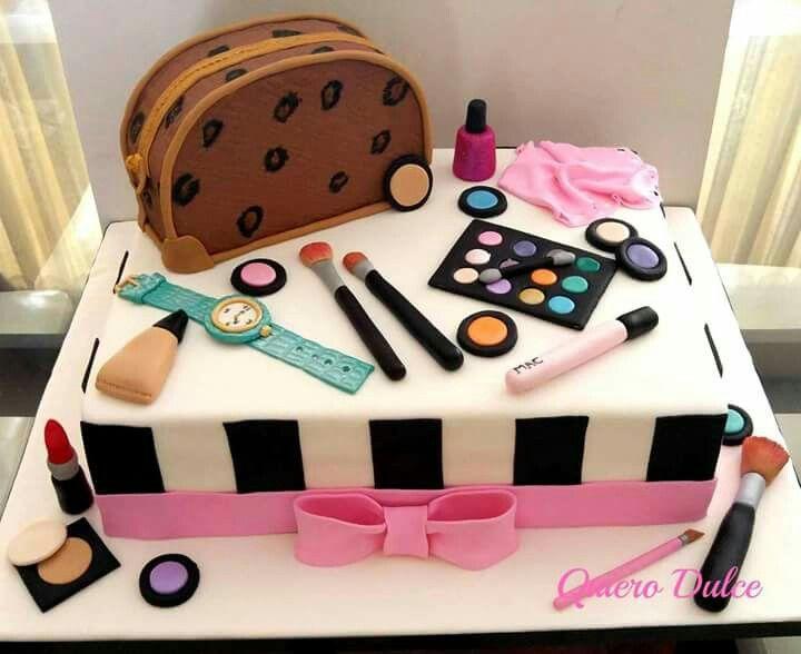 Torta de maquillaje para chicas   TORTAS PERSONALIZADAS   Pinterest ...