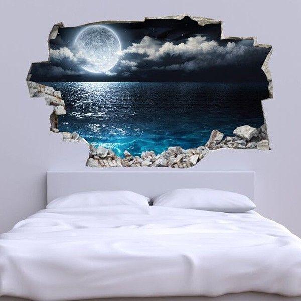 3d vinyl wandsticker mond und erde jetzt reduziert bei lesara decor and design pinterest. Black Bedroom Furniture Sets. Home Design Ideas