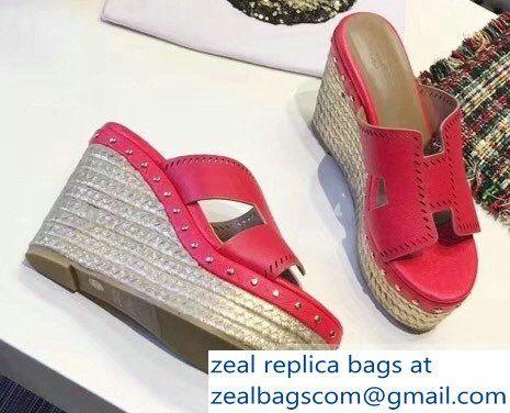 hermes epsom leather platform 4cm wedge heel 11cm studded