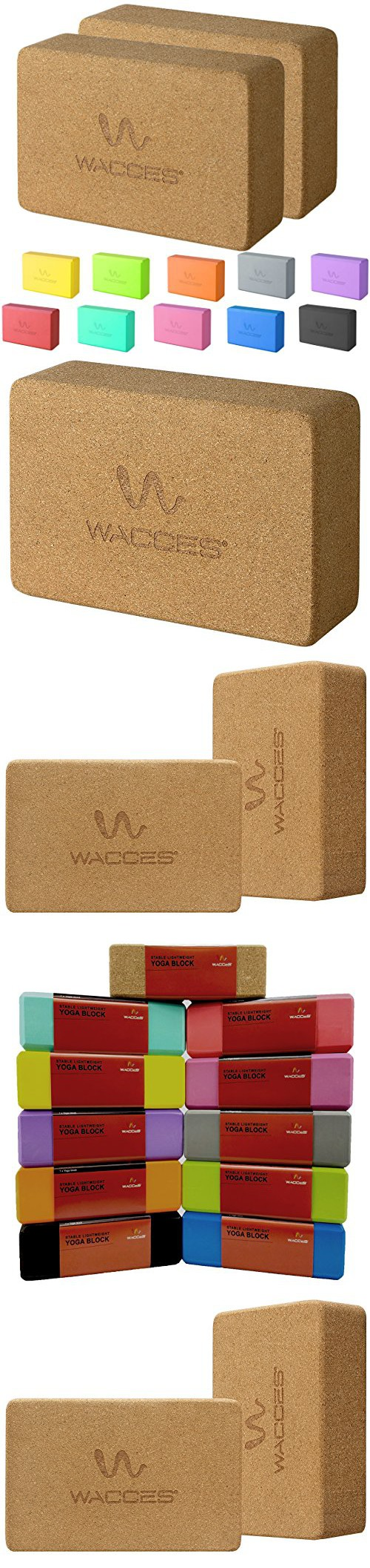 "Wacces 2 Pack Exercise Fitness Yoga Block Set Eco Friendly Cork ( 9"" x 6"" x 3"" ) - Cork"