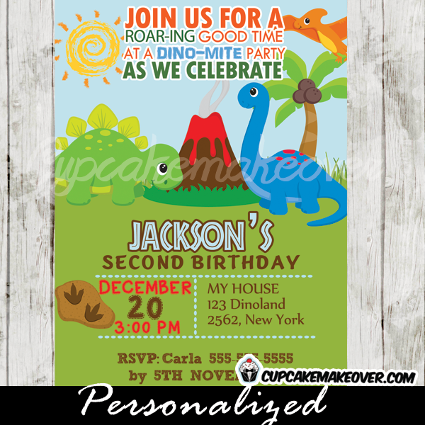 jurassic land dinosaur birthday invitation personalized d7 in