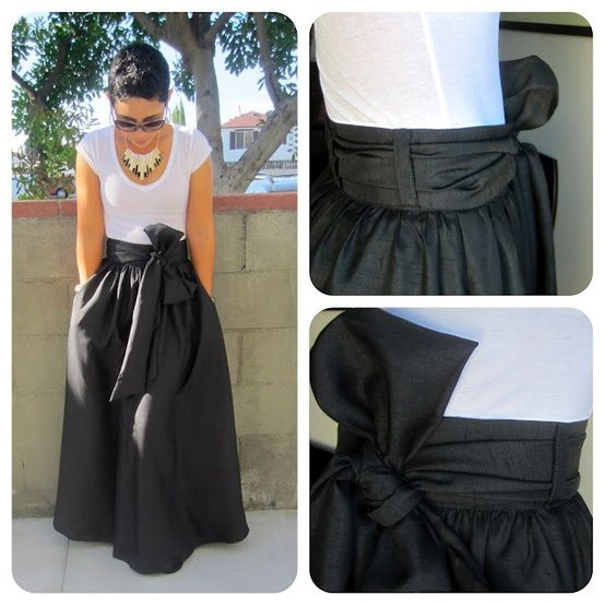 black maxi skirt with a bow waistband- this link wants you to buy ...