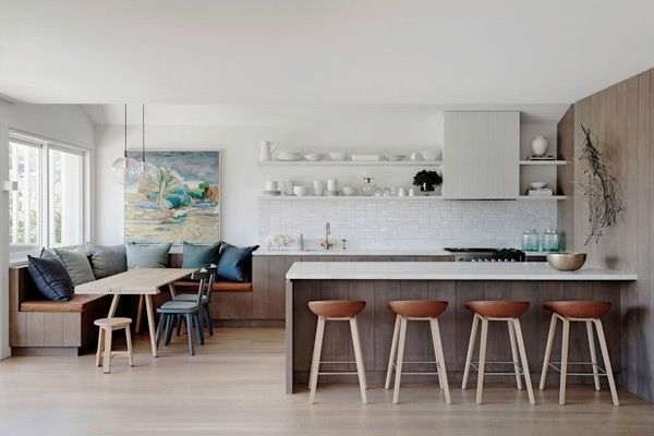 Justine Hugh-Jones kitchen design. Love the casual dining area to side of kitchen.