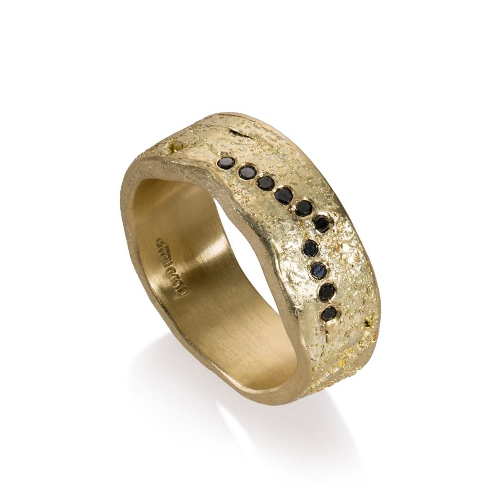 Todd Reed Jewelry, Organic Mens Wedding Band, Mens Gold