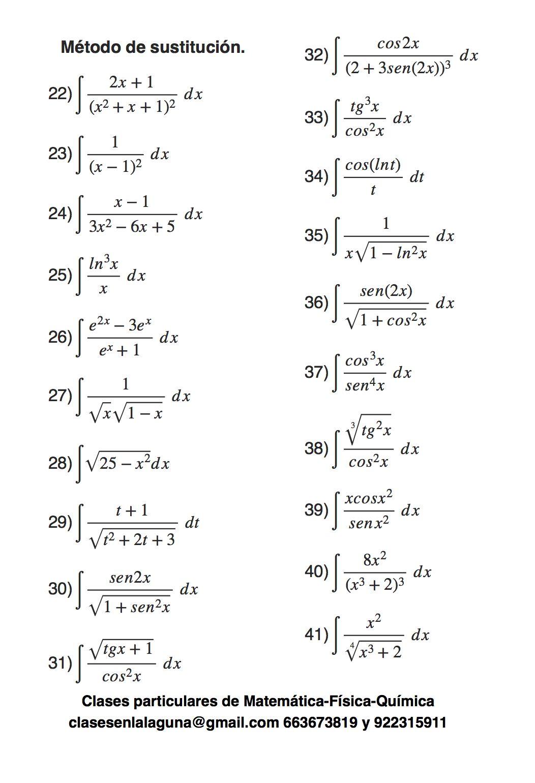 Ejercicios Propuestos De Integrales Método De Sustitución O Cambio De Variable Par Calculo Diferencial E Integral Funciones Matematicas Ejercicios De Calculo