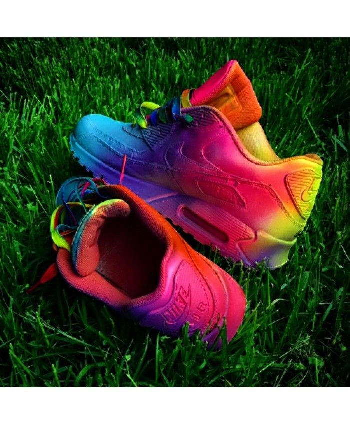 best website 9aaa1 d3858 Nike Air Max 90 Rainbow Yellow Pink Dark Blue Trainer UK
