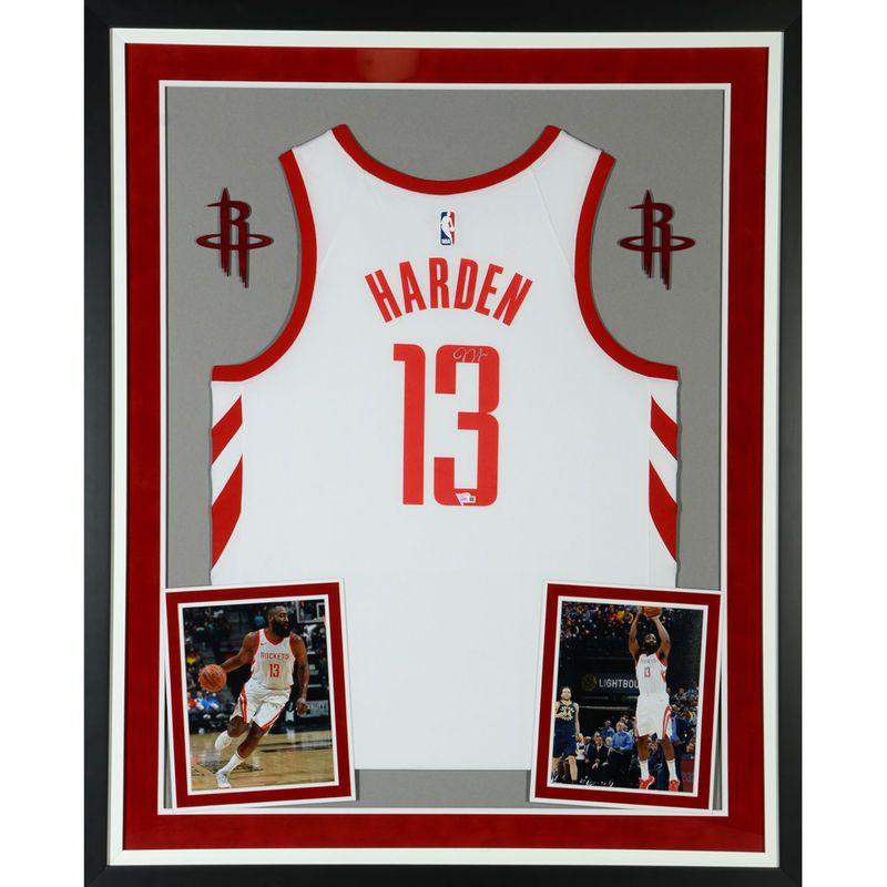 b7126db87 James Harden Houston Rockets Fanatics Authentic Deluxe Framed Autographed  Nike White Swingman Jersey