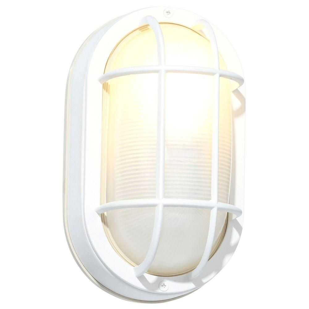 Outdoor Lighting Fixtures Home Depot: Hampton Bay White Outdoor Oval Bulkhead Wall Light