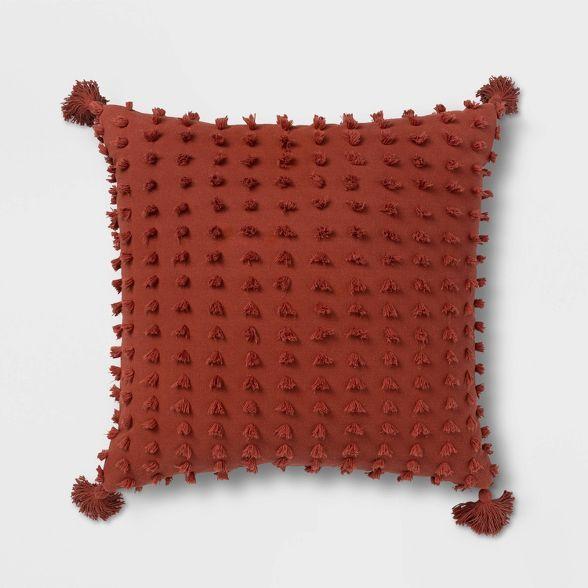 euro clipped tasseled throw pillow