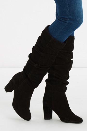 SLOUCH BLOCK HEEL BOOT   Boots, Block