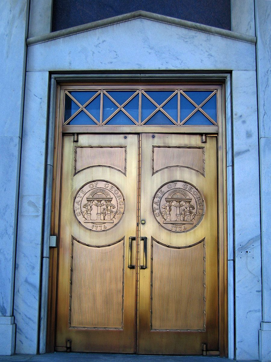 An example of the distinctive door style on the old state office