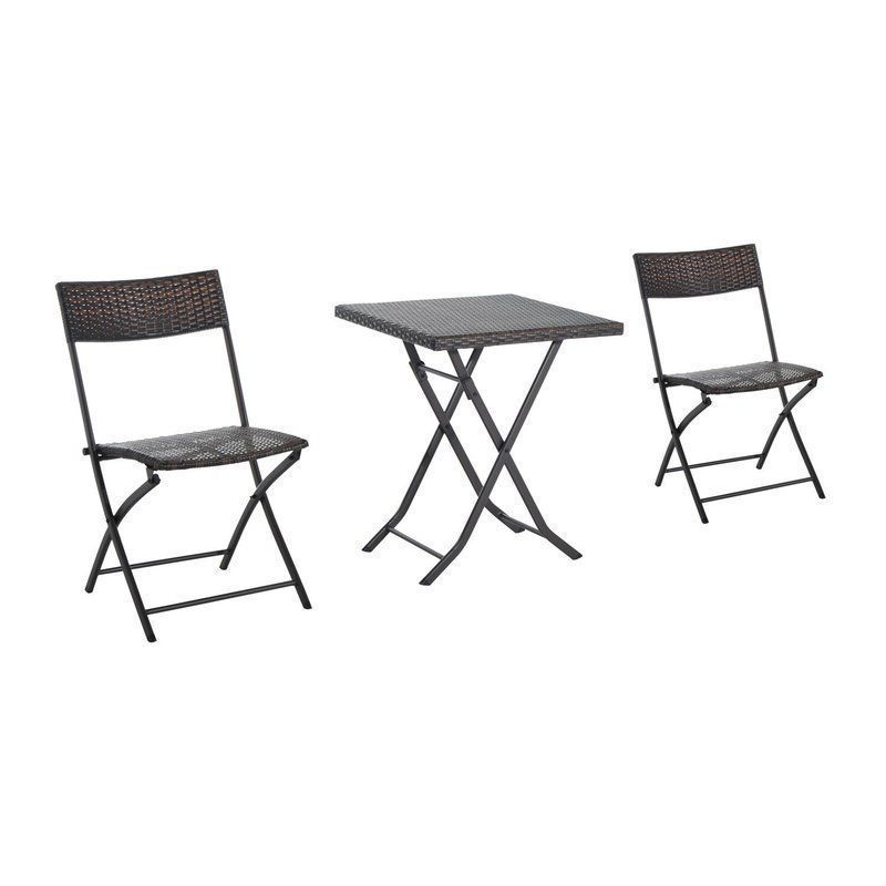 Folding Patio 2 Seater Bistro Set Outdoor 3 Pc Table Chairs
