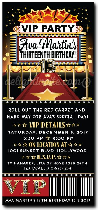 Red Carpet Hollywood Movie Star Birthday Invitation DI 8052 Custom Invitations And Announcements For All Occasions By Delight Invite