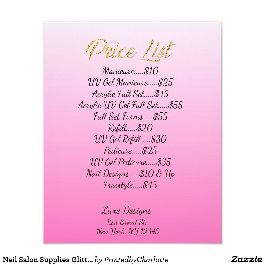 Nail Salon Supplies Glitter Drips Price List Flyer