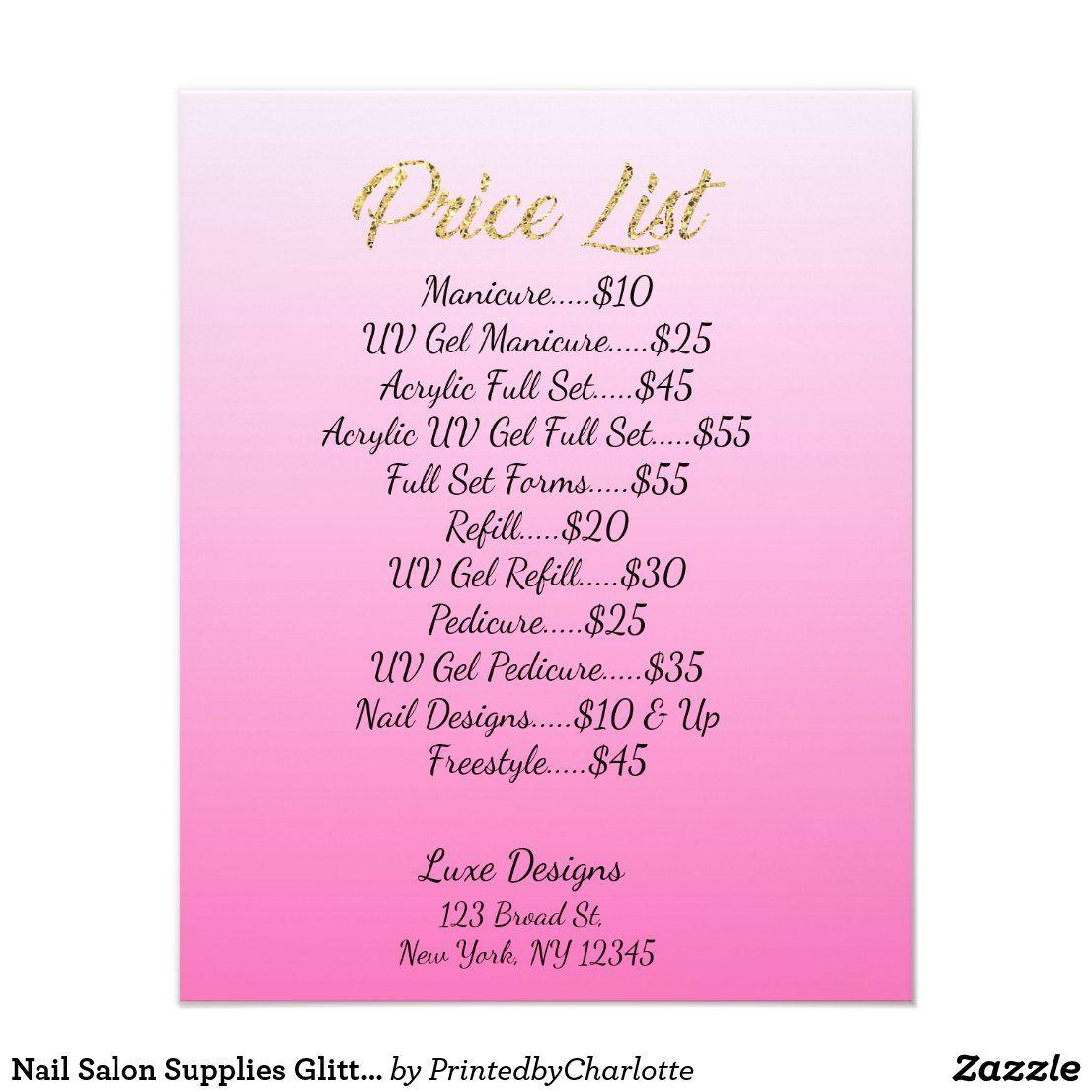 Nail Salon Supplies Glitter Drips Price List Flyer Zazzle Com In 2020 Nail Salon Supplies Nail Salon Design Nail Salon Prices