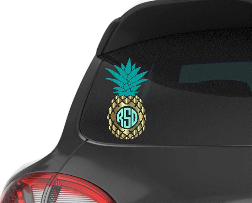 Pineapple Monogram Car Decal Pineapple Car Sticker Vinyl Etsy Car Monogram Decal Car Decals Car And Motorcycle Design [ 806 x 1000 Pixel ]
