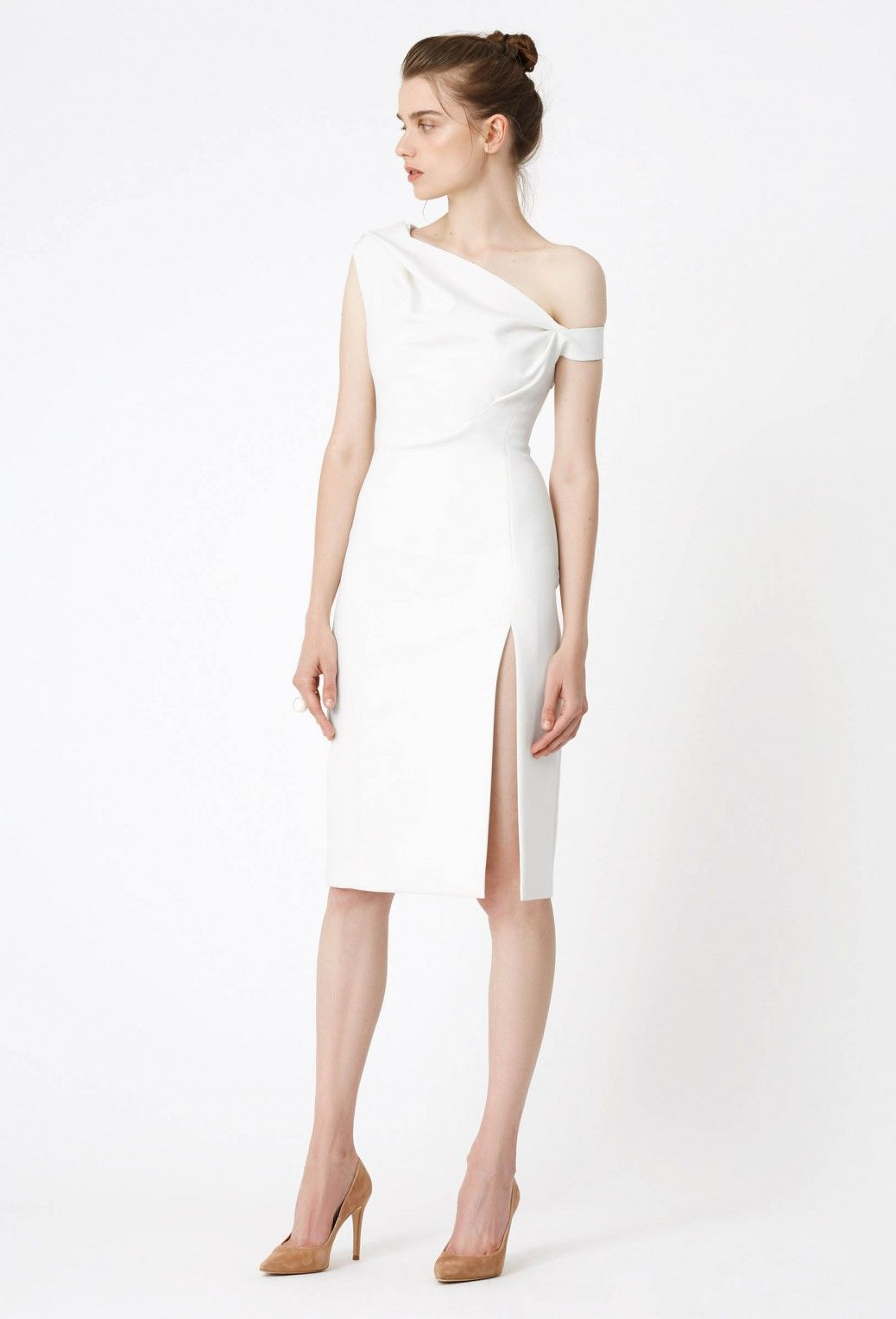 Didion Structured Knee Length Dress Cream White Dresses Knee Length Dress White Midi Dress [ 1528 x 1038 Pixel ]
