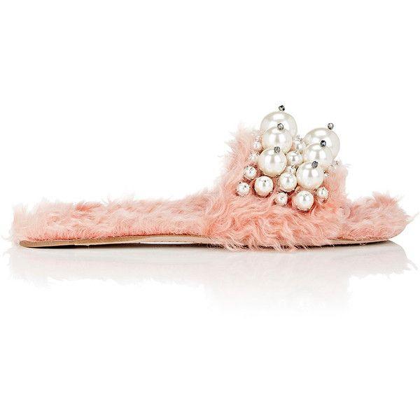Womens Embellished Mohair Eco-Shearling Slide Sandals Miu Miu MRojTBkbb