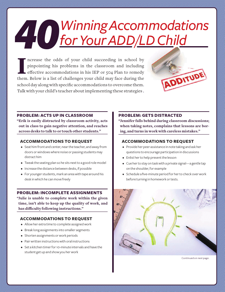 40 IEP/504 Accommodation ideas for students with ADHD ...