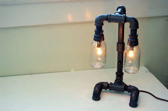 Repurposed steampunk desk lamp. <b>Pipe lamp</b>. van RoscaLights op ...