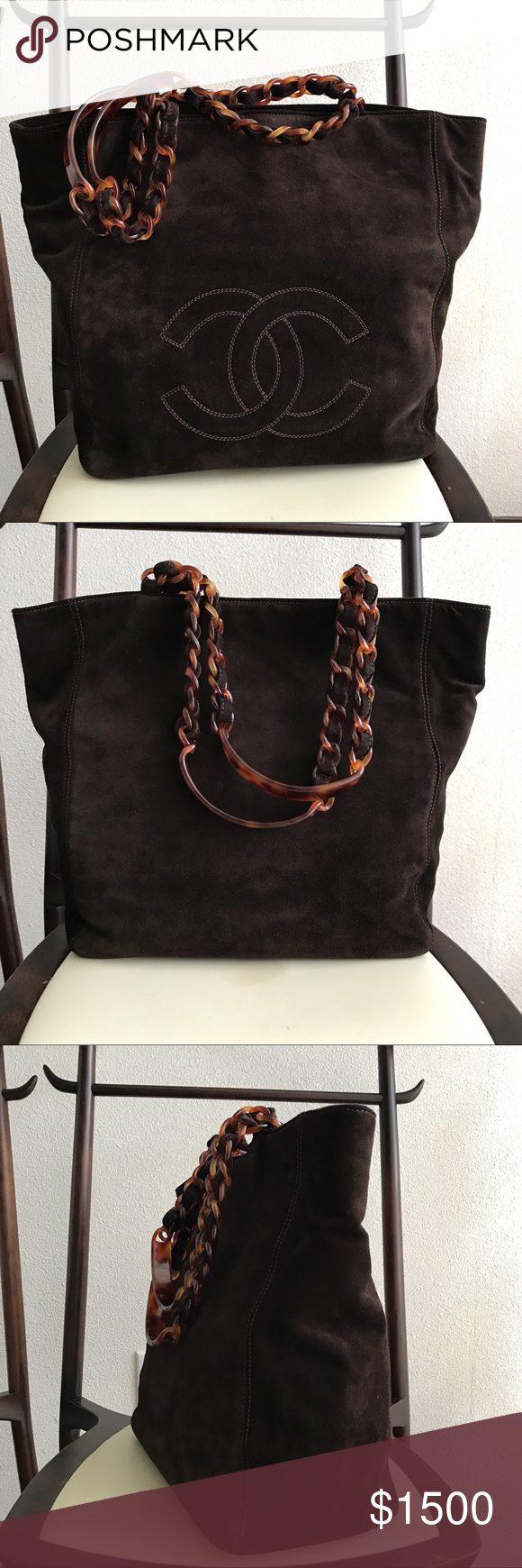692e91f0e55a CHANEL BROWN SUEDE SHOPPING TOTE Authentic CHANEL