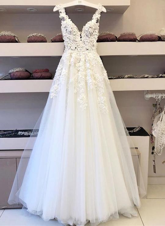 Weißer Tüll Spitze Applique langes Abendkleid, formelle Kleidung