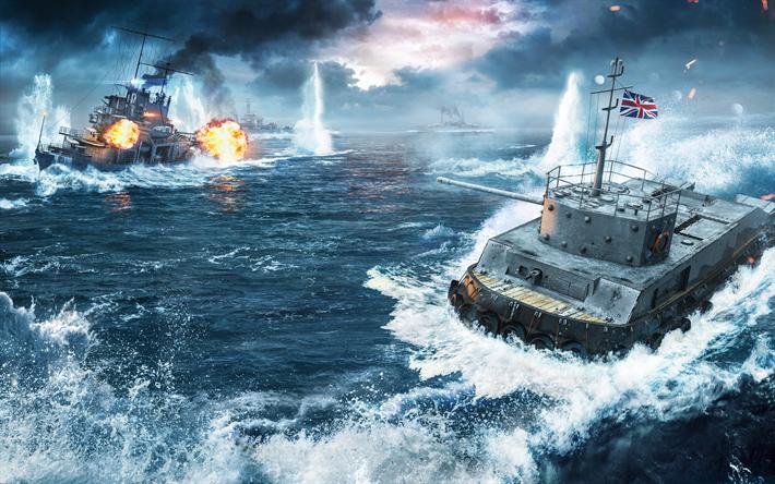 Download Wallpapers Wows 4k Battle World Of Warships World Of Tanks Schiff Bilder