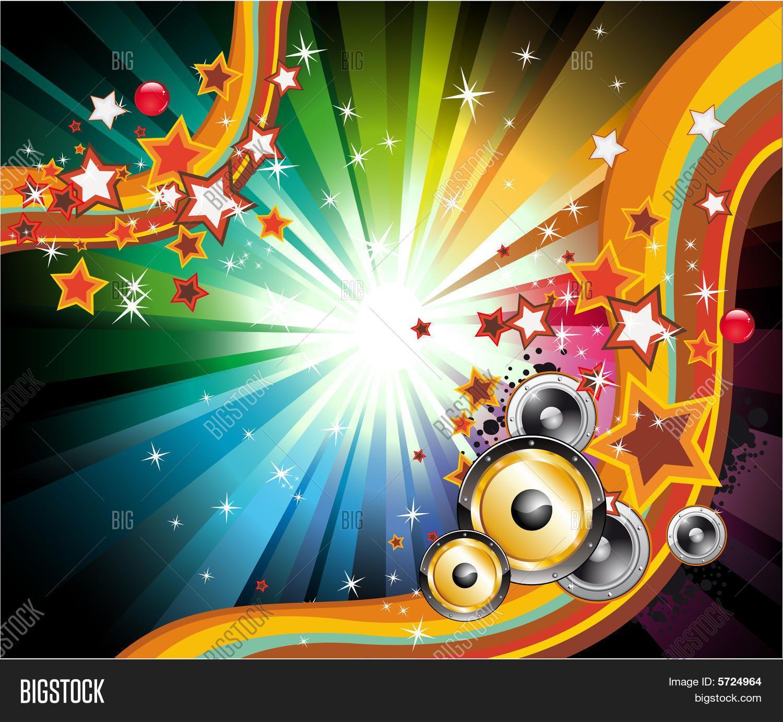 Fondo De Música Para Discoteca Volantes Con Colores De