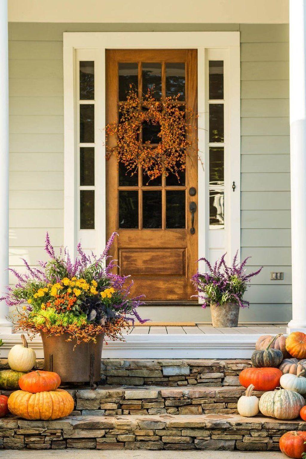48 Pretty Fall Porch Decor Ideas Fall Decorations Porch Front Porch Decorating Front Door Planters