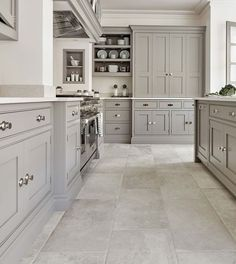 23 White Kitchens Without Wood Floors - Down Leah'