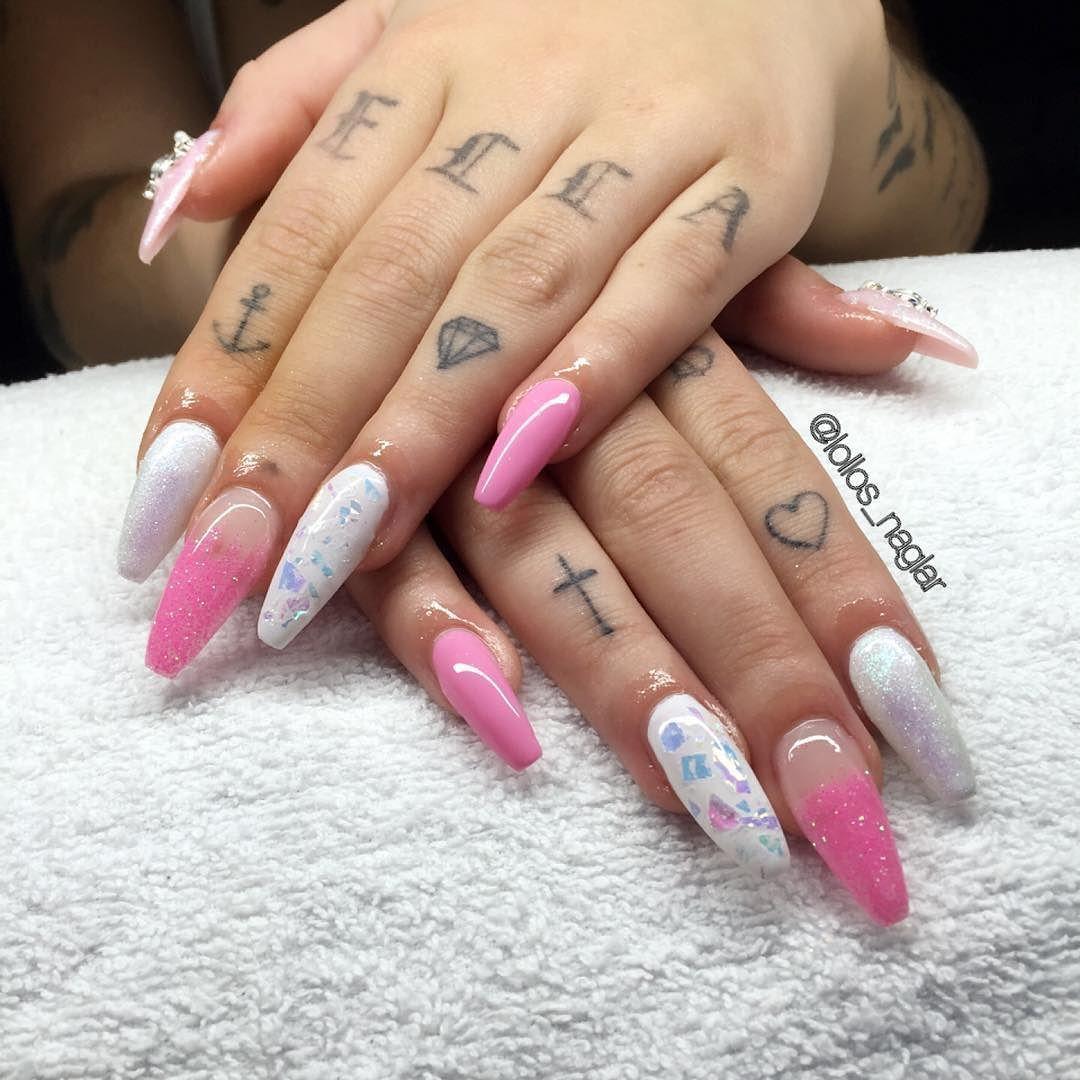 mermaid glitter naglar